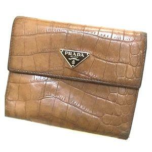 Prada St Cocco Crocodile Wallet in Tobacco w/ Box